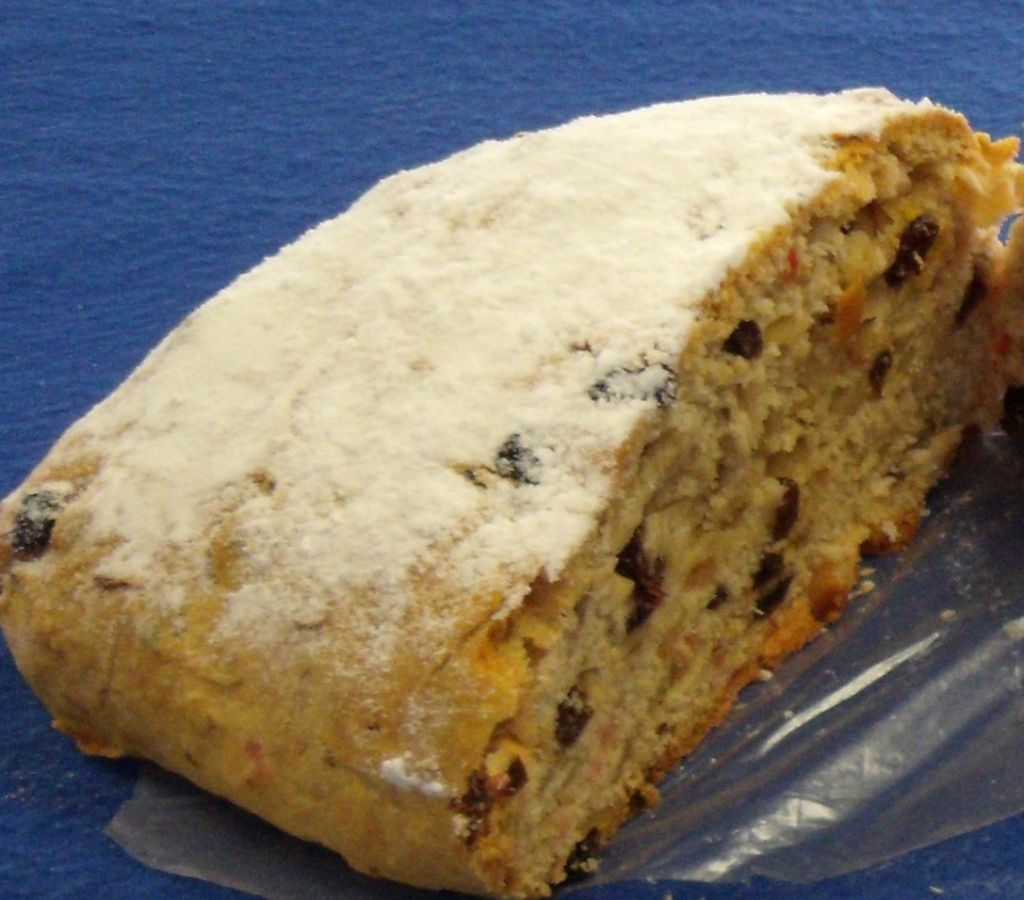 A sweet bread with citrus fruit pieces