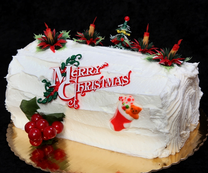 White Frosted  Yule Log Cake